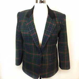 Vintage Wool Blend Plaid Velvet Trim Blazer SZ 16